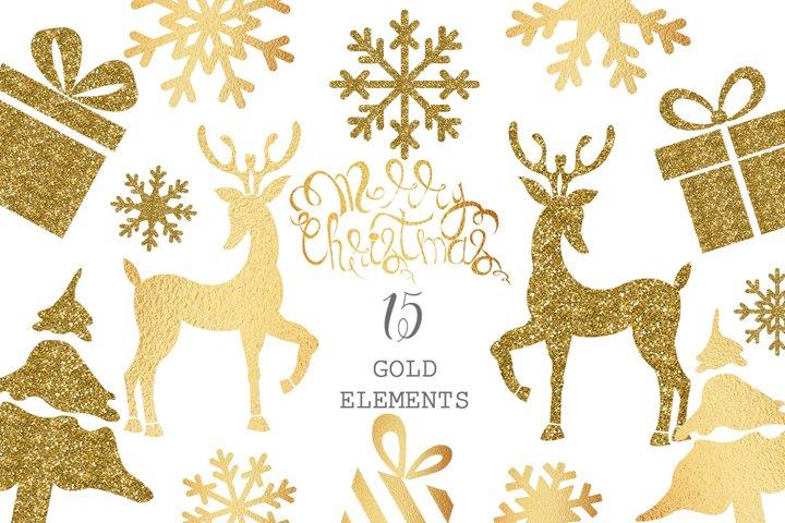 Gold Christmas Clipart, Golden Deer, Gifts, Snowflakes, Fir