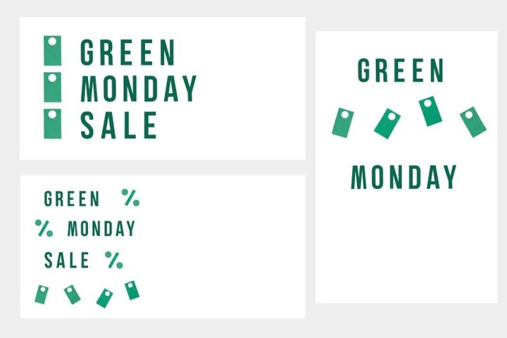 Set of banners and flyer for Green Monday Sale on white
