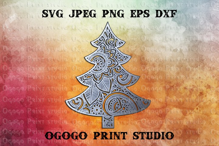 3D Layered Mandala SVG, Christmas tree Svg, Zentangle Svg