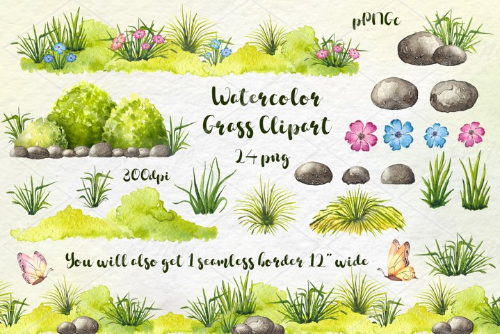 Watercolor Meadow / grass clipart