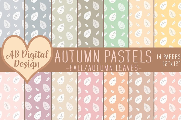 Fall Digital Paper Background, Pastel Autumn, Fall Leaves