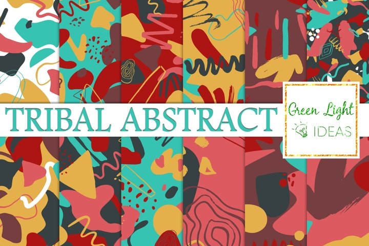 Tribal Abstract Digital Papers, Modern Geometric Backgrounds