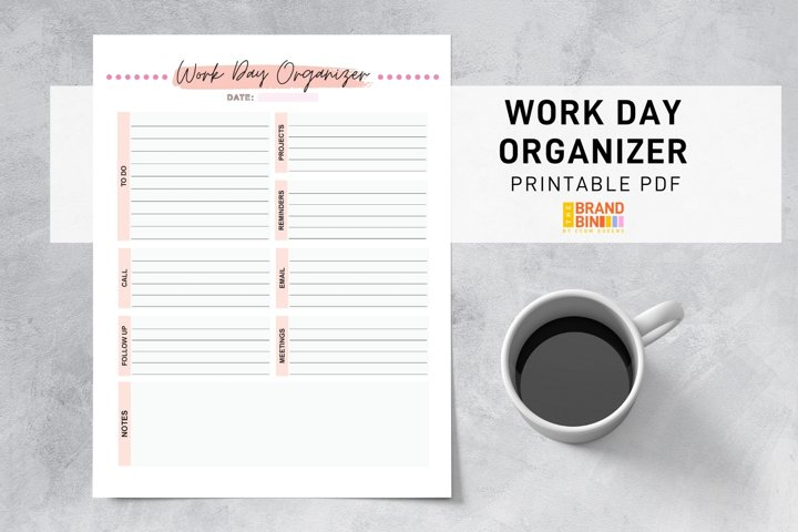 Work Day Organizer Printable - Business Office Planning PDF