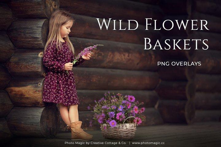 Fantasy Wild Flower Basket Photo Overlays