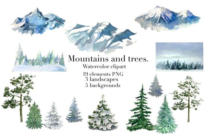 Winter forest landscape, mountains watercolor clipart
