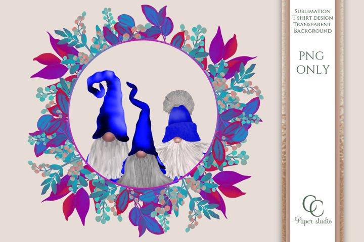 Sublimation design - Gnome illustration - ocean wreath