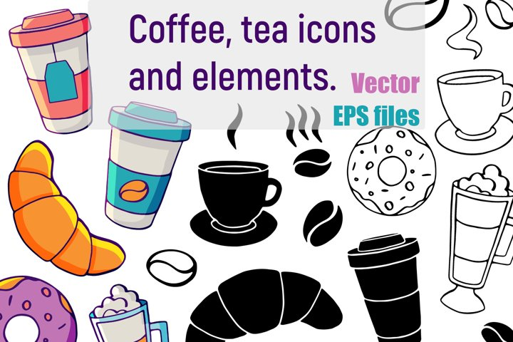 Vector coffee and tea elements