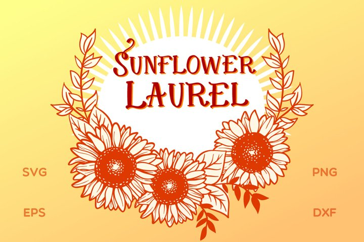 Sunflower Laurel SVG cut file