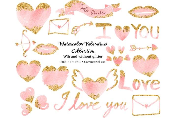 watercolor valentine clip art, heart, arrow, I love you