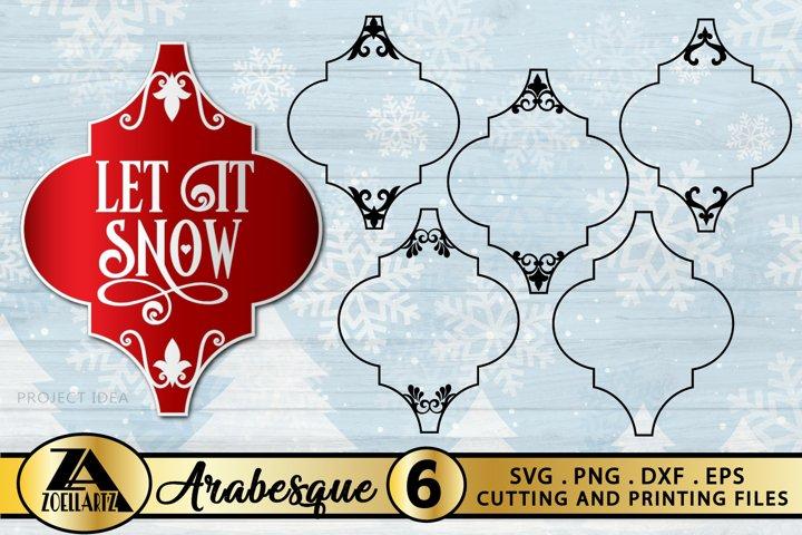 Arabesque Christmas Ornament SVG Bundle-Arabesque Frames SVG