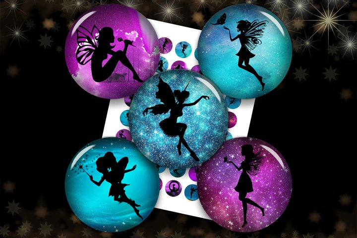 Fairies Silhouette,Fairy Images,Fairy Pendants,Collage Sheet