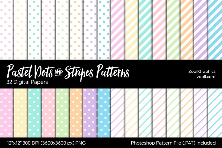 Pastel Dots And Stripes Digital Papers