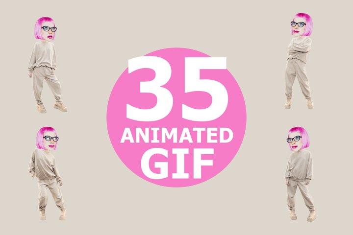 Animated gif funny character Girl