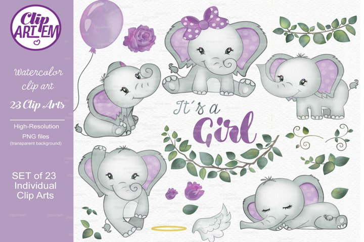 Baby Girl Elephant Purple Girl 23 Watercolor PNG images