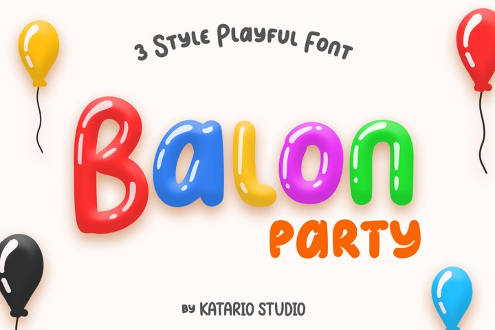 Balon Party | Layered 3 Style Display Font