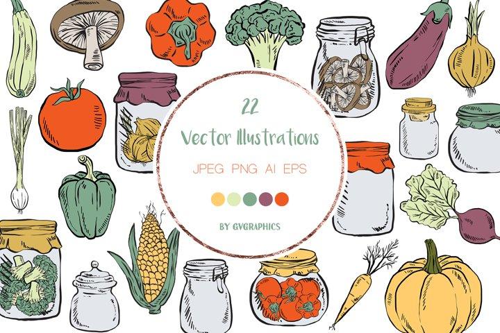 22 Hand Drawn Cartoon Vegetables Vector Illustrations
