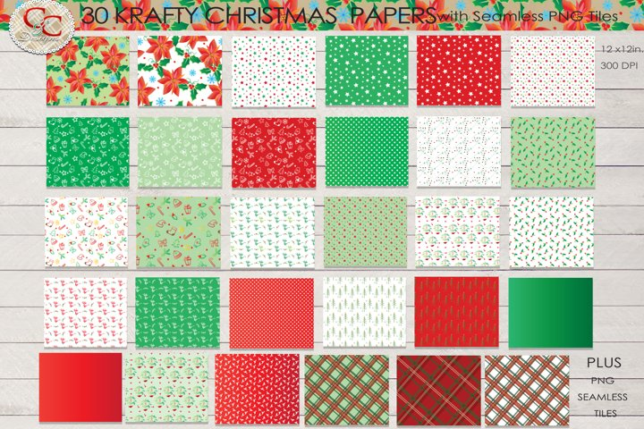 30 Cheerful Christmas Papers- Plus 14 Seamless PNG Patterns