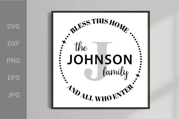 Family Monogram SVG, Last Name Farmhouse Monogram Wreath