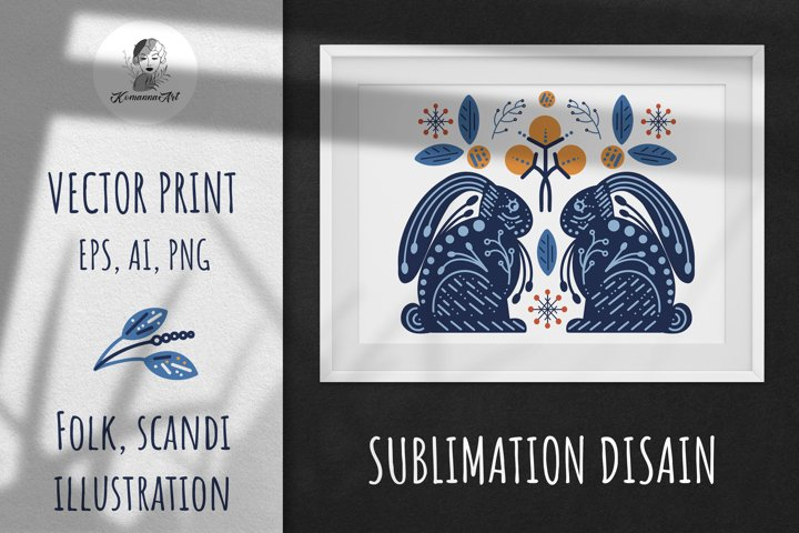 Vector Winter Modern Scandy Folk print, Sublimation Design