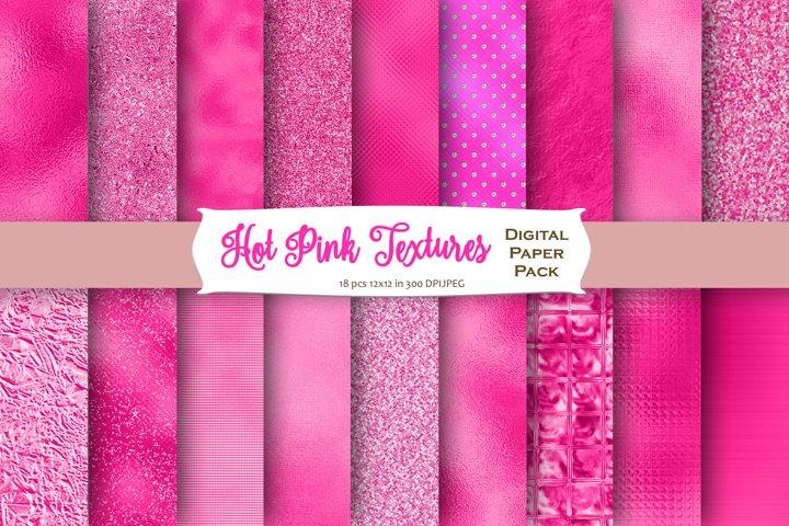 Hot Pink Foil Textures Digital Paper