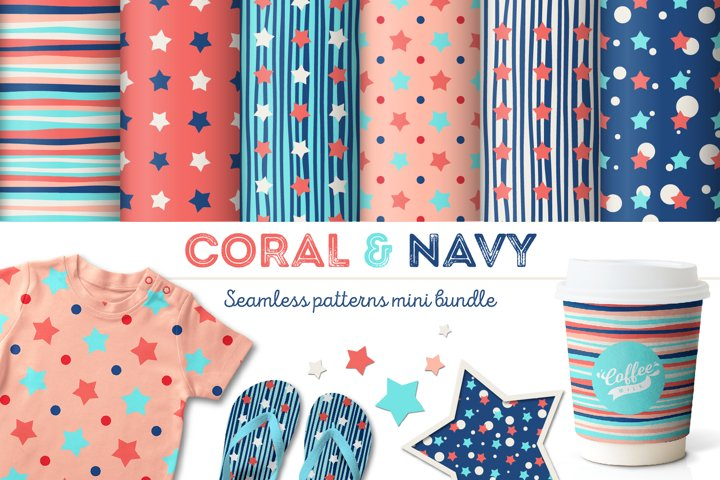 Coral & Navy Seamless Patterns Mini Bundle