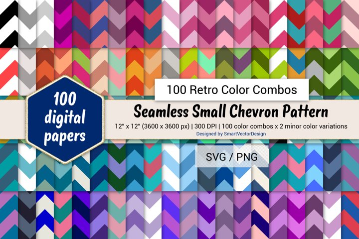 Seamless Small Chevron Paper - 100 Retro Color Combos