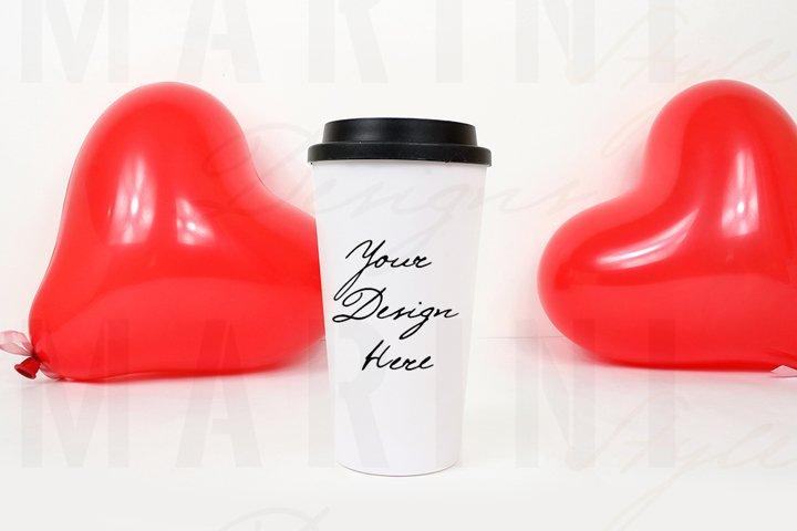 Valentines day travel mug mockup, tumbler mockup, 1103