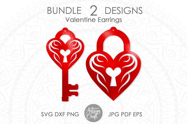 Earrings SVG, lock and key earrings, heart key SVG