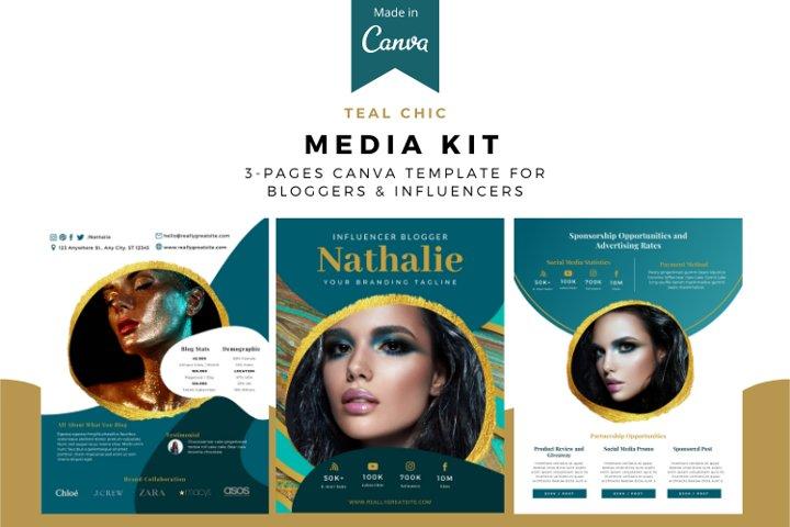 Teal Chic Media Kit Canva Template, Media kit for bloggers