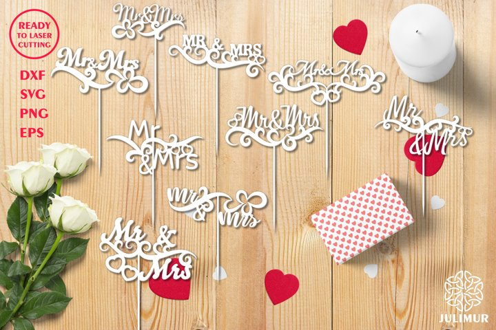 Set of sign Mr and Mrs cake topper