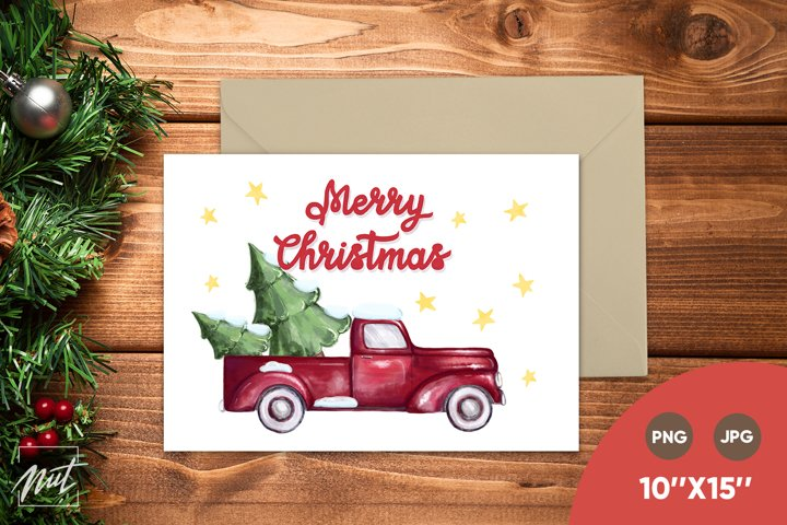 Christmas card - red truck and Merry Christmas. Xmas card