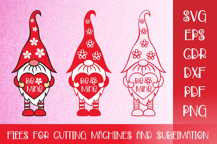 Be Mine - Valentines SVG with Cute Gnome