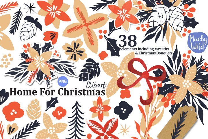 Christmas Holiday Flower Bouquet, Wreath, Ribbon Clipart
