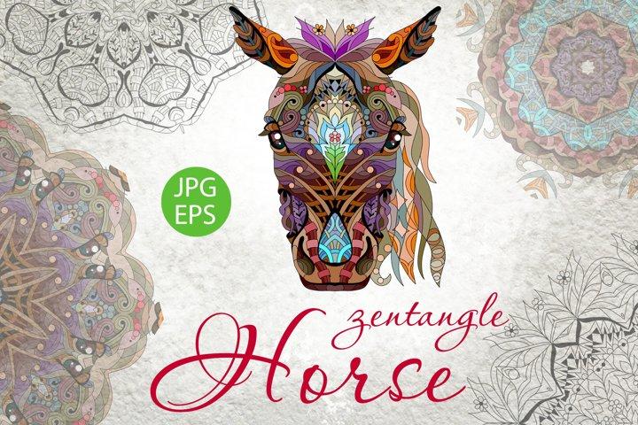 Zentangle horse head