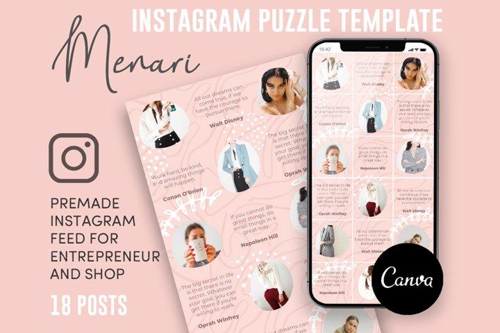 Menari, Pink Style Instagram Puzzle Feed, 18 Posts
