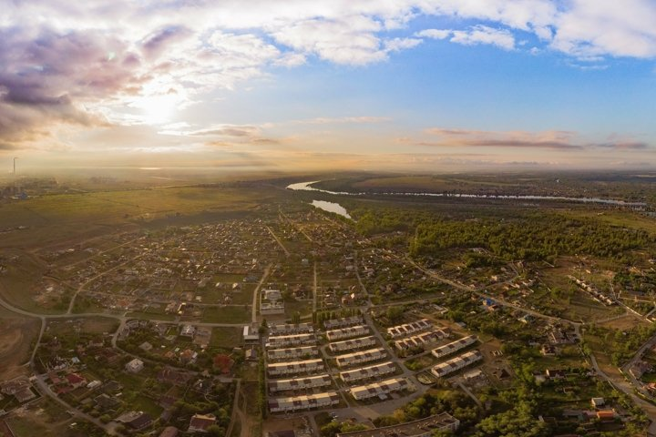 Beautiful aerial view on town at an altitude of 500 meters