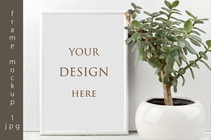 Frame mockup with plant A4 JPG, Poster mockup, Sign mockup