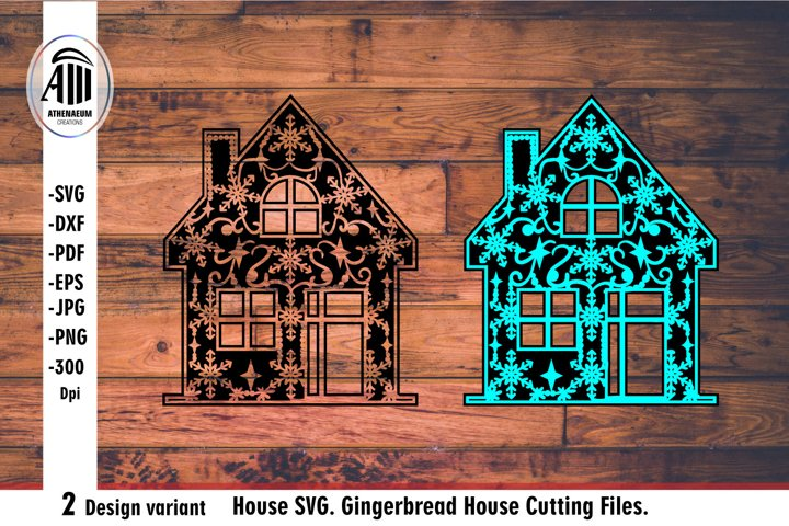 House svg. Gingerbread House silhouette Cutting Files.