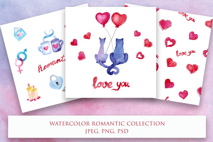 Watercolor romantic collection