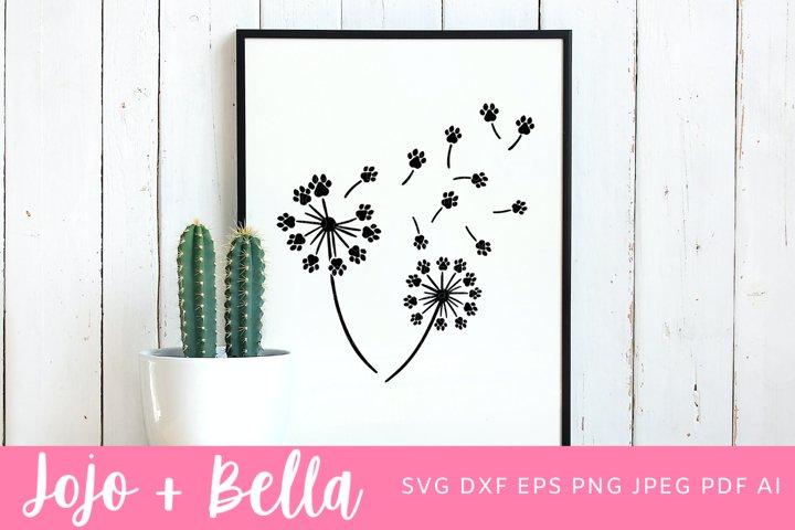 Dandelion Svg| Paw Print Svg