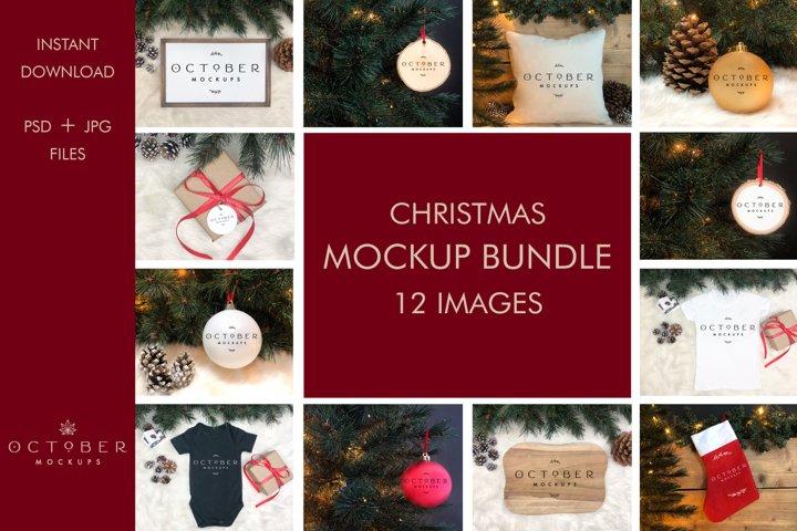 Christmas Mockup Bundle   Christmas set JPG PSD Smart Object