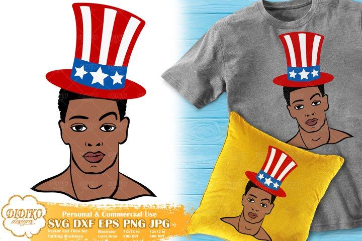 Black Man 4th of July SVG | Afro Man SVG | USA Flag Hat SVG