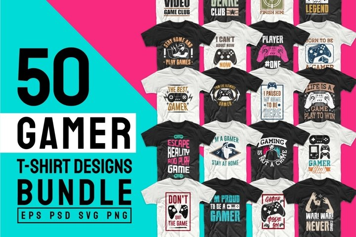 Gaming and Gamer T-shirt Design Vector Bundle Sublimation