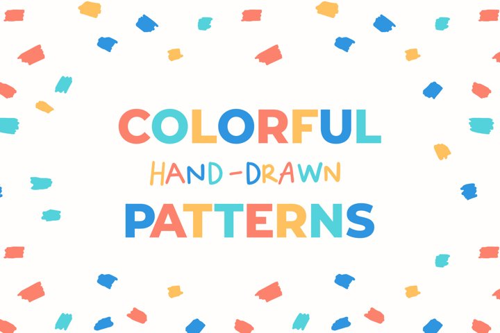 Fun & Colorful Hand-Drawn Seamless Patterns