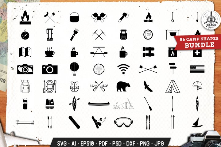 Camp Icons Set Silhouette, Line Vector Graphic SVG Cricut