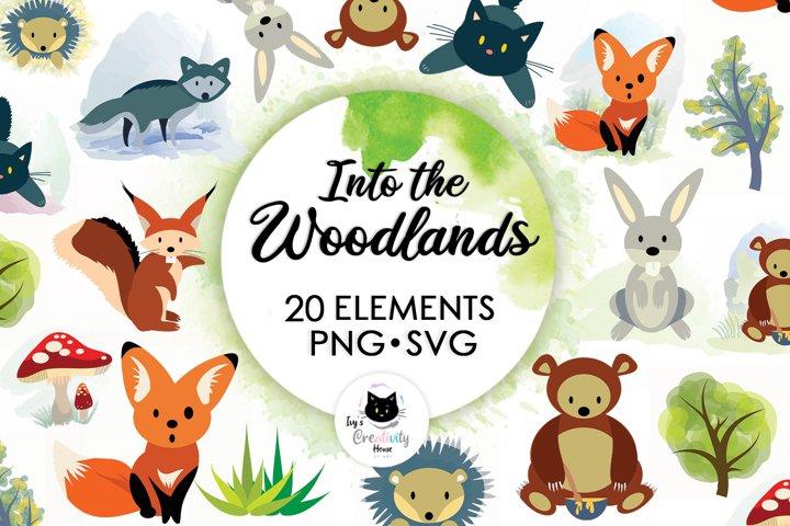 Woodland Animals Kids Clipart | Cute Animals Sublimation Set