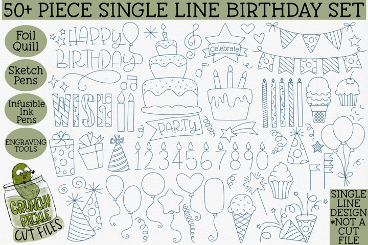 Foil Quill Birthday 50 Piece Bundle / Single Line
