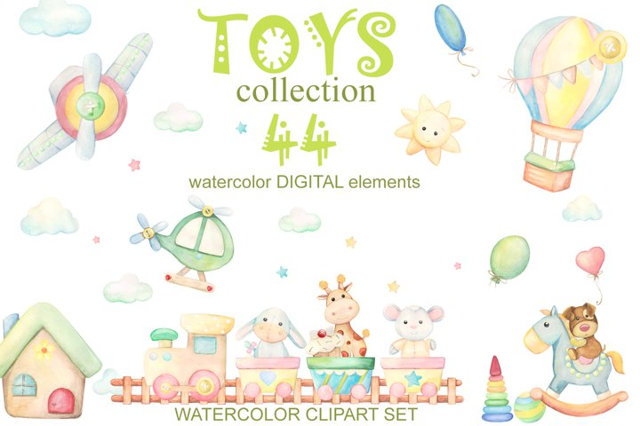 Baby toys watercolor clipart. For boys and girls, clip art