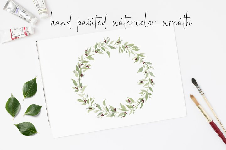 Christmas Watercolor Wreath PNG