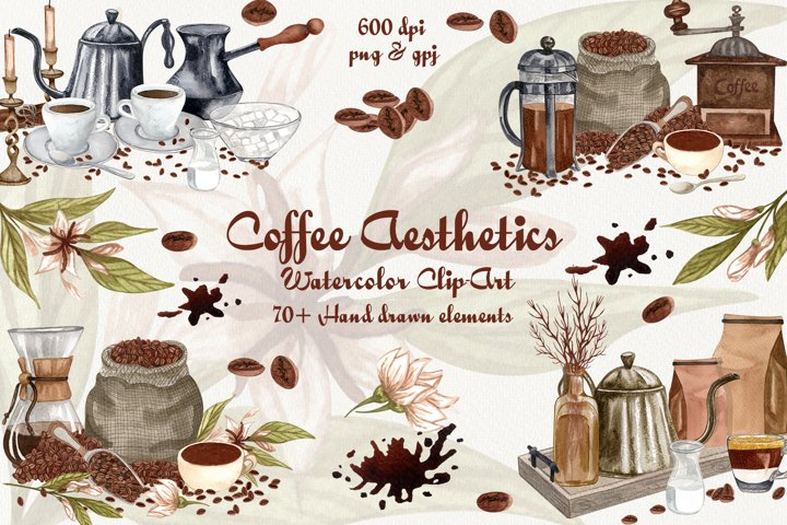 Coffee Aesthetics Watercolor Clip Art